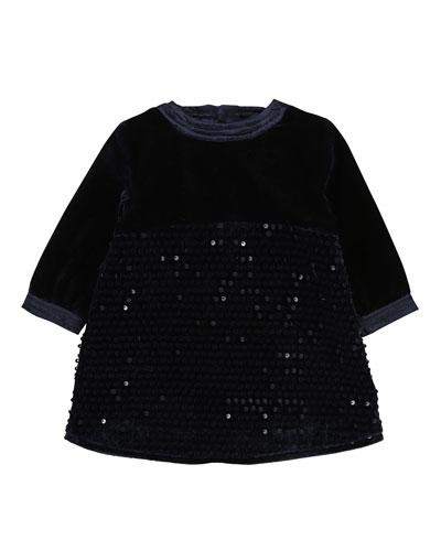 Velvet & Sequin Long-Sleeve Dress, Size 2-3