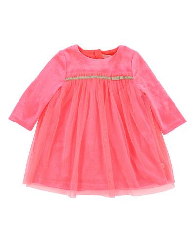 Billieblush Long-Sleeve Velour & Tulle Dress, Size 12-18