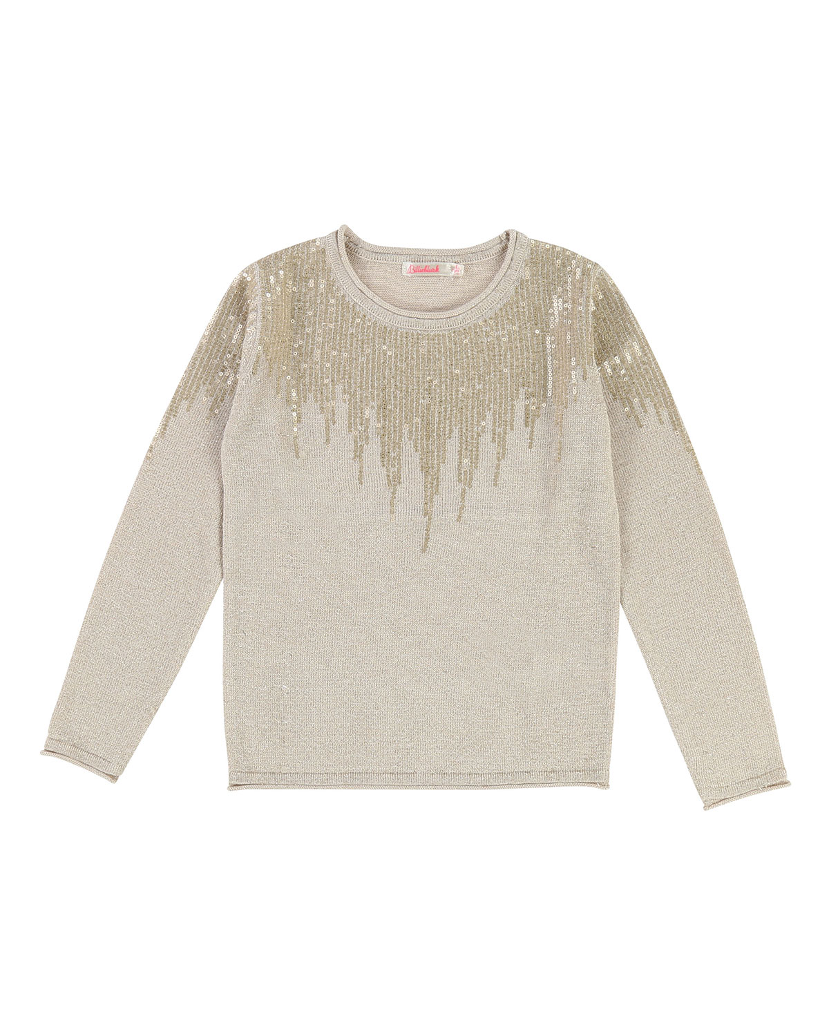 Long-Sleeve Lurex Knit Sequin Top, Size 4-8