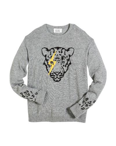 Lightning Eye Leopard Crew-Neck Sweater, Size 6-16