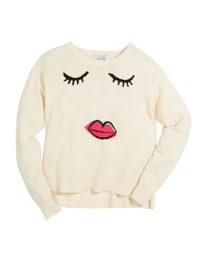 Autumn Cashmere Girls Face Long-Sleeve Sweater, Size 6-16