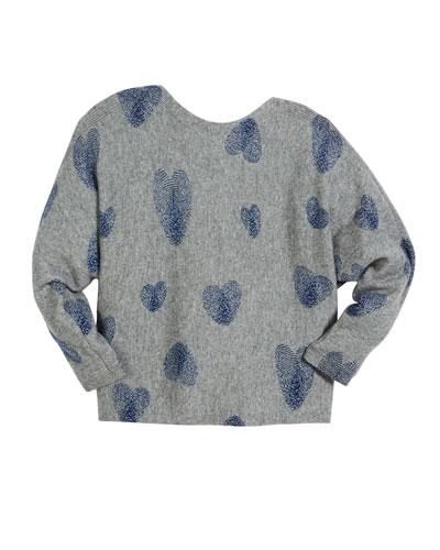 Thumbprint Hearts Dolman-Sleeve Sweater, Size 6-16
