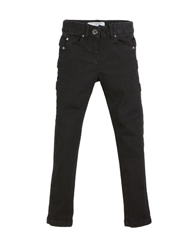 Slim-Fit Leather-Trim Denim Pants, Size 6-10