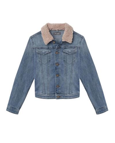 Light Wash Denim Jacket w/ Sherpa Collar, Size S-L