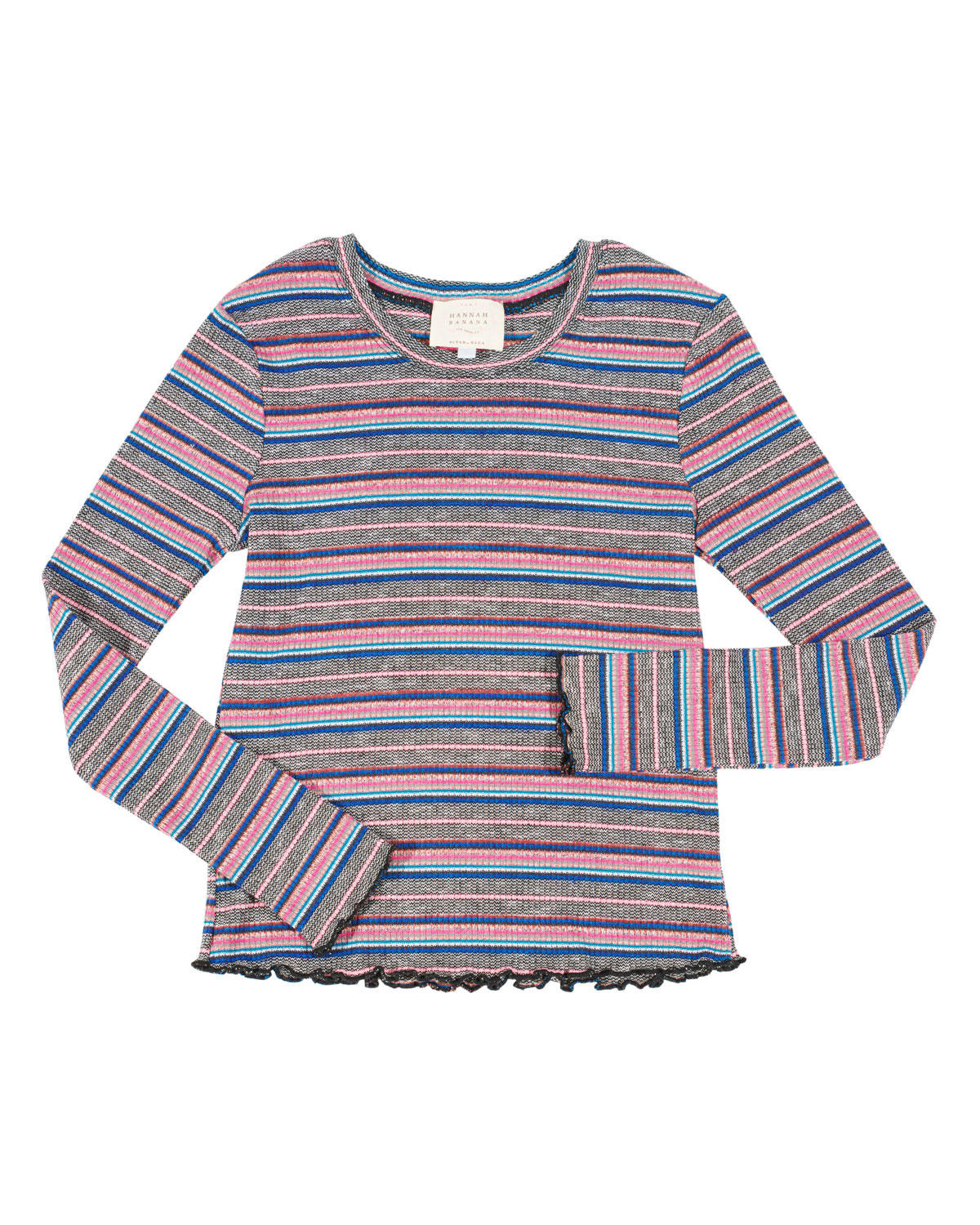 HANNAH BANANA STRIPED RUFFLE-HEM TOP, SIZE 4-6X