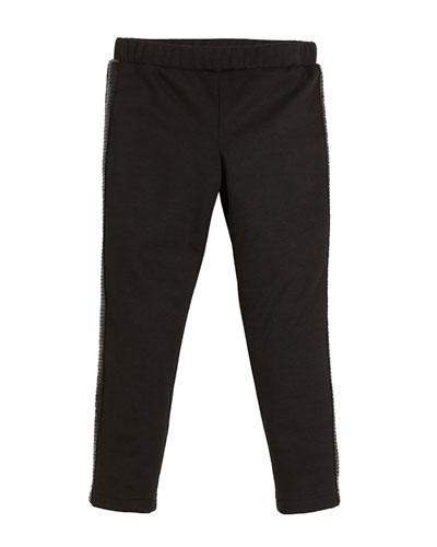 Ponti Sequin Stripe Stretch Leggings, Size 4-7