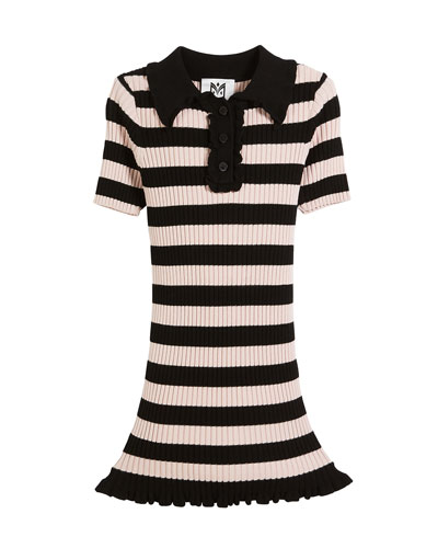 Ribbed Striped Ruffle-Trim Polo Dress, Size 8-14