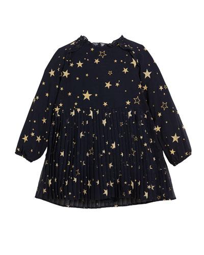 Pleated Star-Print Long-Sleeve Dress, Size 3-7