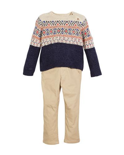 Fair Isle Knit Sweater w/ Twill Pants, Size 12-36 Months