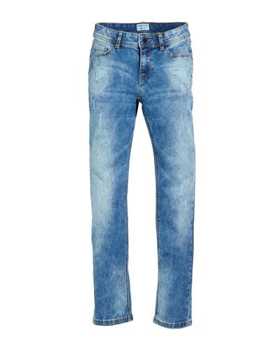 Distressed Slim-Fit Denim Jeans, Size 8-16
