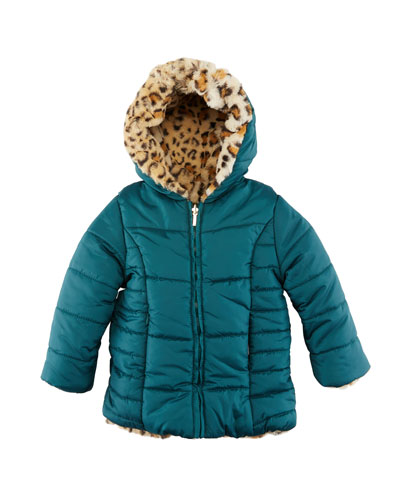 Reversible Cheetah-Print Faux-Fur Coat, Size 12-36 Months