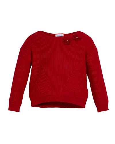 Rib-Knit Sweater w/ Flower Appliques, Size 3-7