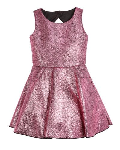 Sara Metallic Foil Keyhole-Back Dress, Size 2-6X