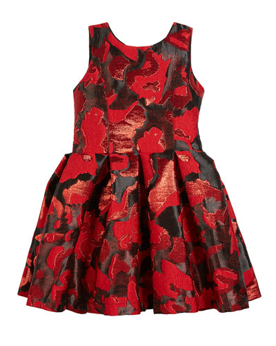 Abstract Floral Jacquard Party Dress, Size 4-6X