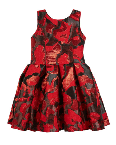 Abstract Floral Jacquard Party Dress, Size 7-16