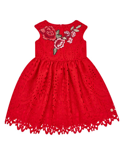 Cap-Sleeve Lace Dress w/ Flower Applique, Size 4-10