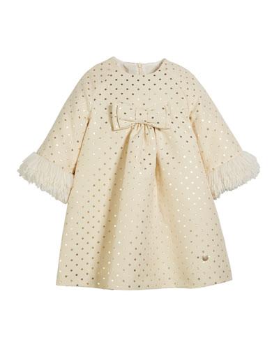 Metallic Polka-Dot Long-Sleeve Dress w/ Faux Fur Cuffs, Size 4-10