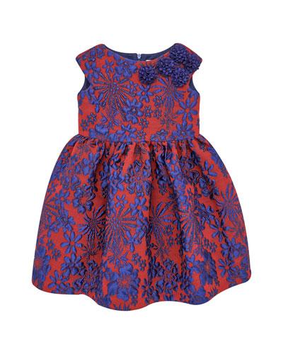 Floral Jacquard Cap-Sleeve Dress w/ Rosettes, Size 4-10