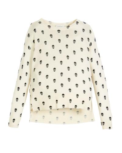 Long-Sleeve Skull-Print Sweater, Size 8-16