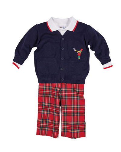 Tartan Plaid Pants, Knit Sweater & Long-Sleeve Polo Top, Size 12-24 Months