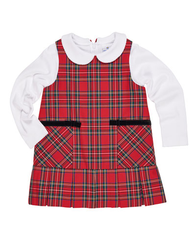 Tartan Plaid Jumper w/ Peter Pan-Collar Top, Size 2-6X