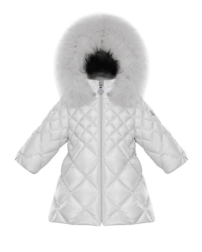 Tulle Diamond-Quilted Hooded Coat w/ Fur Trim, Size 12M-3