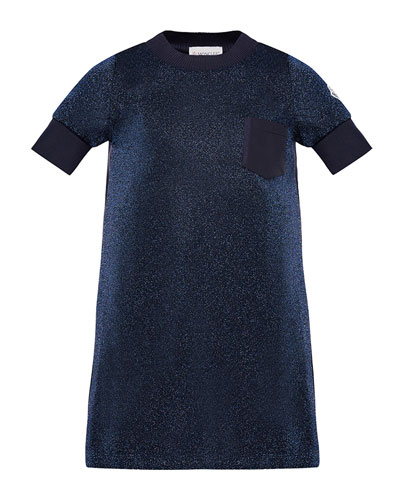 Moncler Short-Sleeve Metallic Knit Dress, Size 8-14