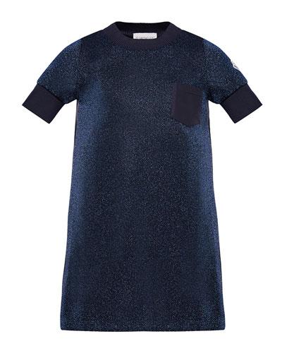 Short-Sleeve Metallic Knit Dress, Size 8-14