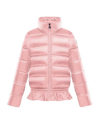 Anemonet Ruffle-Hem Quilted Puffer Jacket, Size 4-6