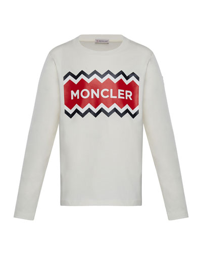 Moncler Long-Sleeve Logo Graphic T-Shirt, Size 4-6