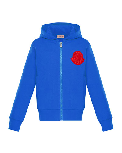 Moncler Zip-Up Hoodie w/ Contrast Logo, Size 8-14