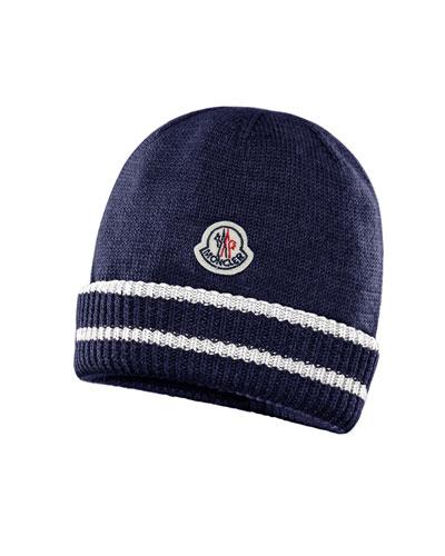 Kids' Virgin Wool Striped-Cuff Beanie Hat