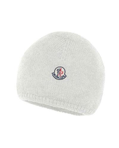 Kids' Logo-Patch Knit Virgin Wool Beanie Hat