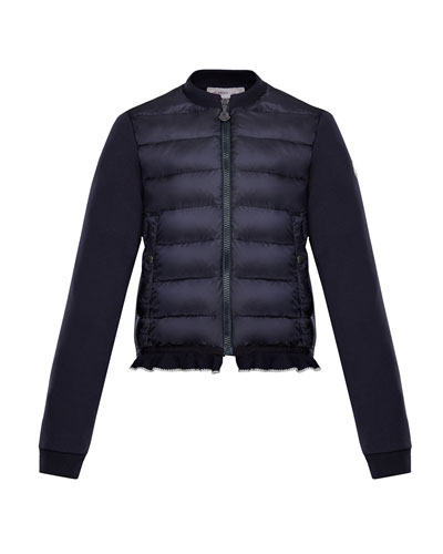 Moncler Quilted Bodice Jacket w/ Knit Trim, Size