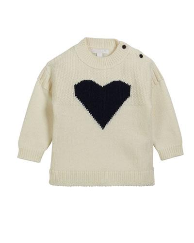 Mixed-Knit Heart Intarsia Sweater, Size 12M-3
