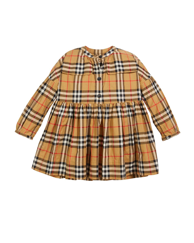 Marny Check Puff-Sleeve Dress, Size 4-14