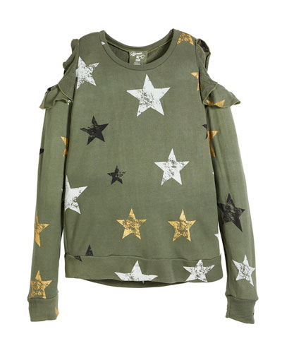 Flowers By Zoe Cold-Shoulder Star-Print Sweatshirt, Size S-XL