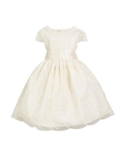 Scallop Lace Bow-Back Dress, Size 7-10