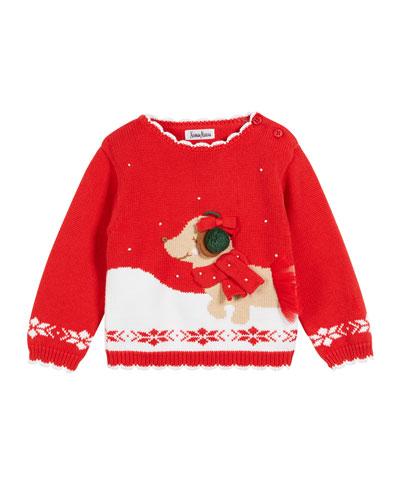 Kids' Dog & Snow Christmas Sweater, Size 2T-10