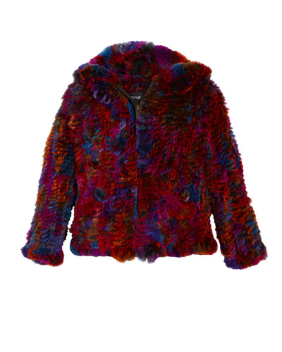 Knitted Multicolored Hooded Fur Jacket, Size 2T-12Y