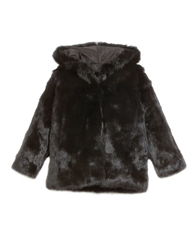 Hooded Rabbit Fur Coat, Size 2T-12Y
