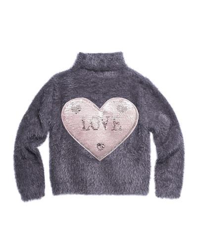 Fuzzy Yarn Turtleneck Sweater w/ Sequin Love Patch, Size 4-6