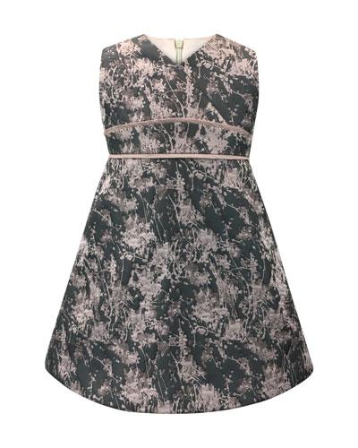 Floral Jacquard V-Neck Dress, Size 7-14