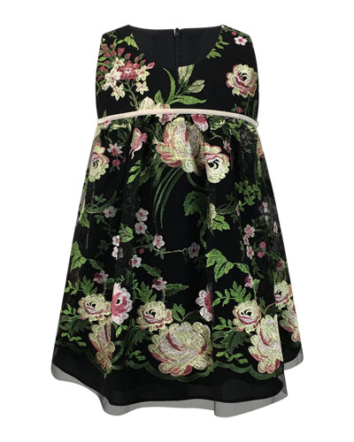 Sleeveless Floral-Embroidered Dress, Size 2-6