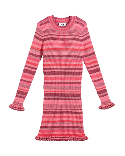 Rib-Knit Metallic Stripe Dress, Size 8-14