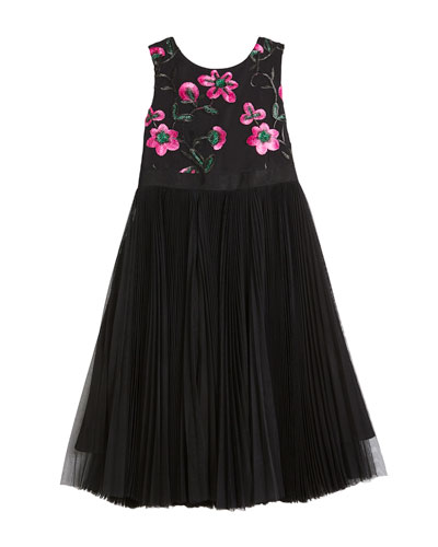 Tulle & Floral Embroidered Dress, Size 4-7