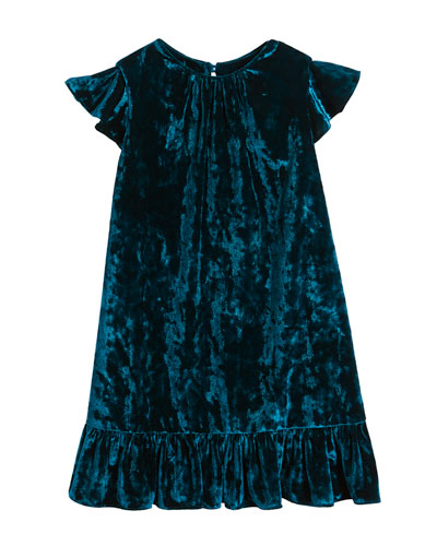 Ruffle-Trim Crushed Velvet Shift Dress, Size 4-7