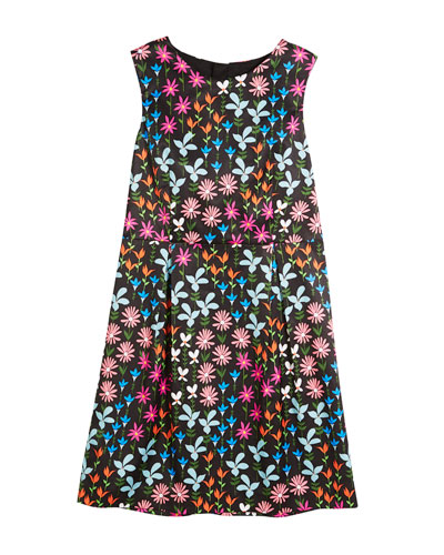 Natalia Jacquard Floral Sleeveless Dress, Size 8-16