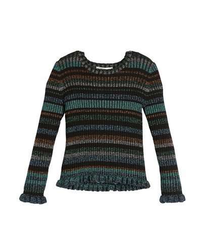 Rib-Knit Lurex Stripe Sweater, Size 8-14