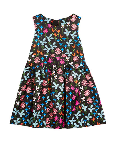 Natalia Jacquard Floral Sleeveless Dress, Size 4-7
